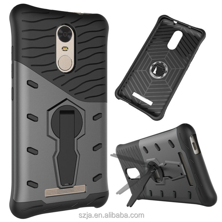 2 in 1 tpu pc case for xiaomi redmi note 3 shockproof case with 360 degree rotation holder