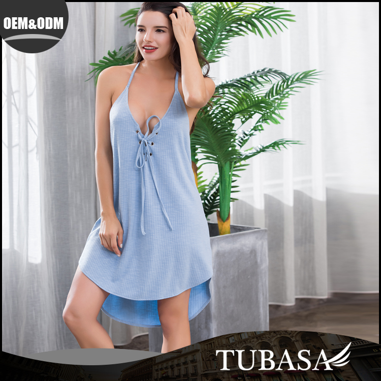 Deep v-neck sexy nighty dress picture blue front lace-up dress