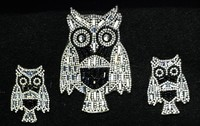 Owl Design Iron on Hot Fix Crystal Chaton Rhinestone Applique Patch Motif