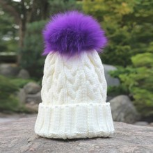 Children girl natural real fur raccoon fur pompon knit hat cap winter warm crochet beanie with real fur pom poms ball kids