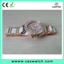 Newest trendy full rhinestone dial lady's charming watch fashion white band watch crystal rose gold plated case lady watch