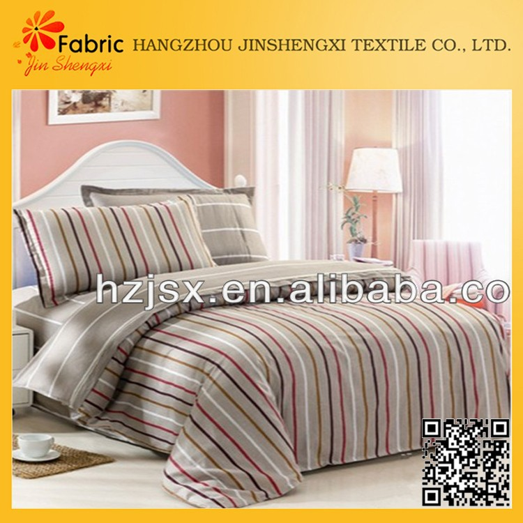 BS138 easy clean soft material cotton bedding set vertical stripe fabric