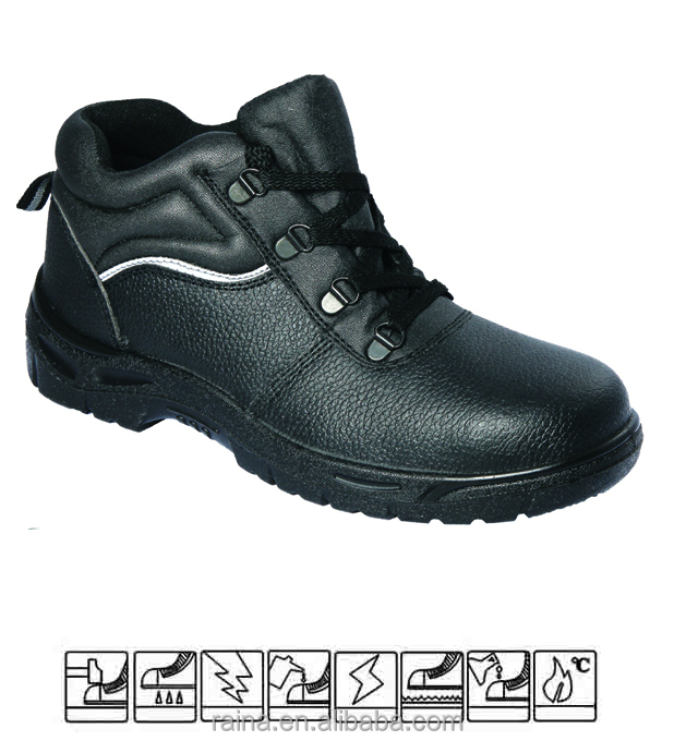 Embossed cow leather steel toe ranger safety shoes