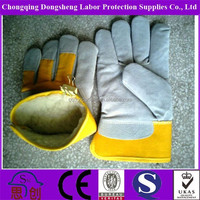 Chill-proof Fur Lined Mens industrial yellow Cow Split Leather Driving hand Gloves