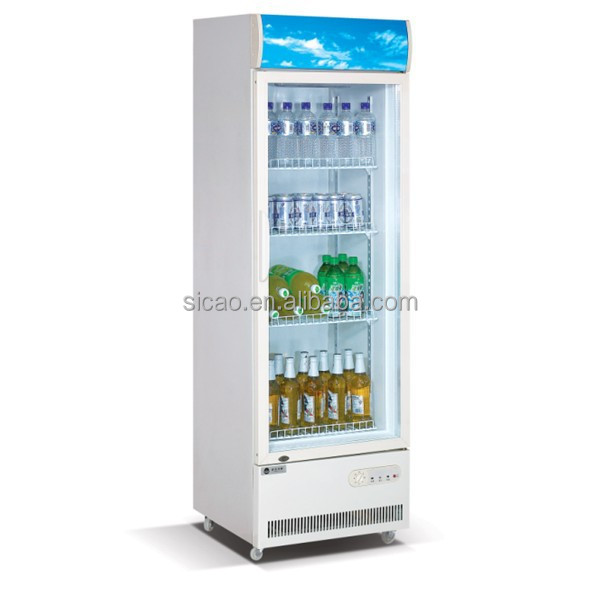 220l upright with wheels display fridge
