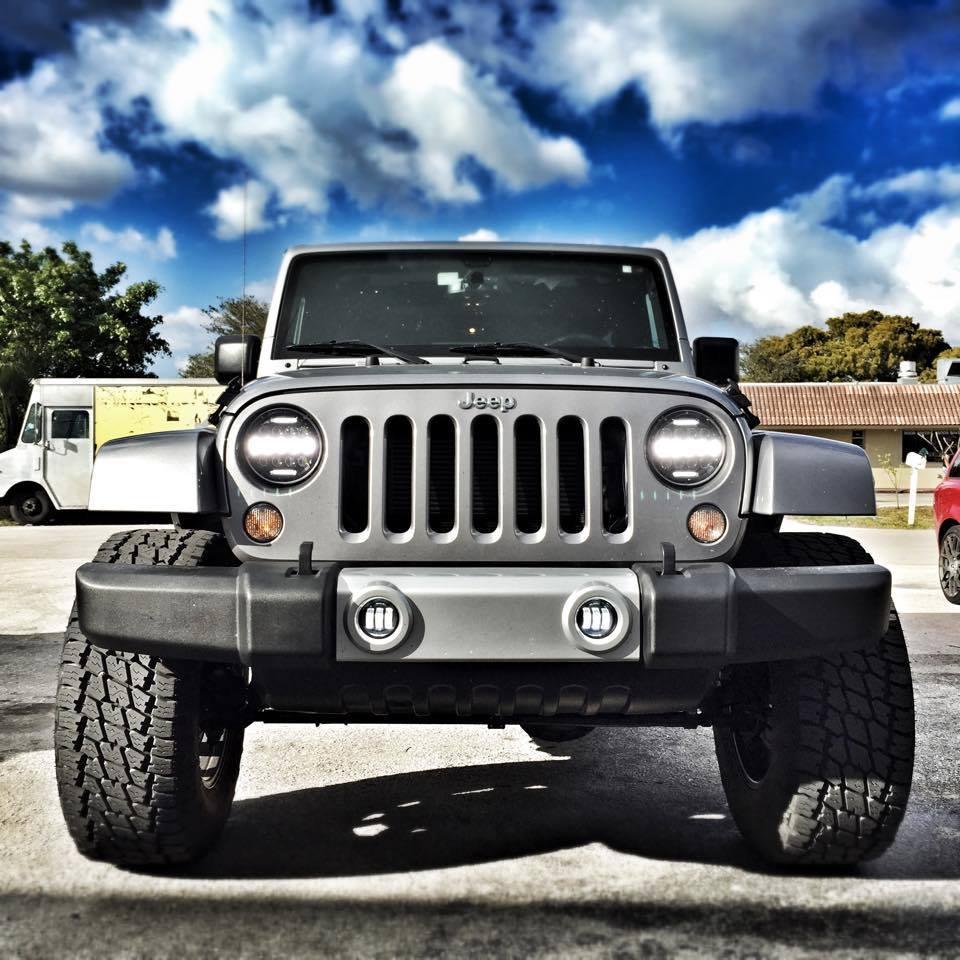 Wukma 7 Inch 75w Led Headlight W Driving Fog Lights For Jeep Wrangler Jk Lj Cj 9