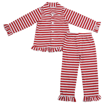China plain and striped pijama baby toddler clothing cotton SGS certificate ruffle sleep wear for boys girls infant children