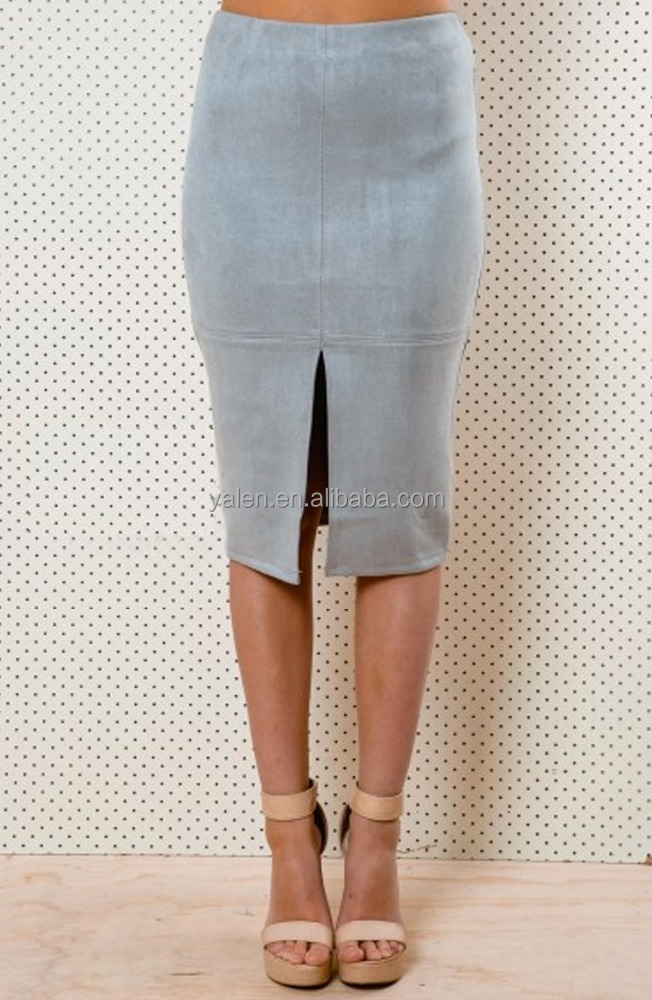custom Suede Pencil Midi Skirt manufacture,wholesale fashion women Suede Pencil Skirt