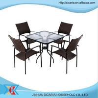 rattan glass outdoor garden furniture