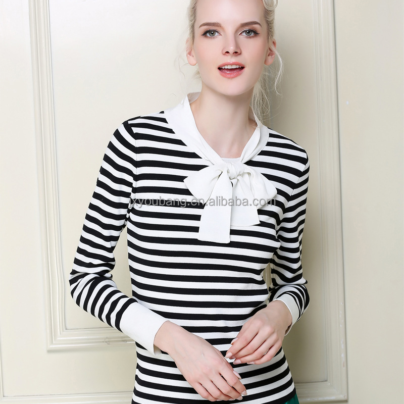 Hot sale Elegant office lady polo neck stripe knitted jumper