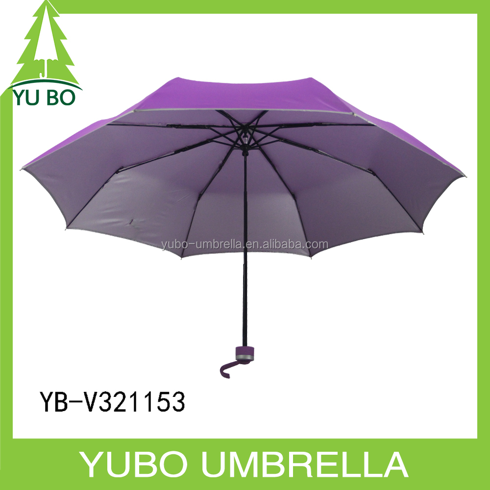 Standard size 3 folder wholesale cheap umbrella plain purple with silver coated sun and rain umbrella