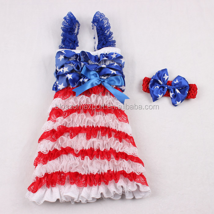 4th of July clothing dress lovely satin white star&red white lace ruffle petti dress with ribbon fourth of July dress