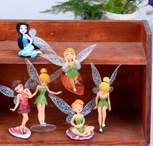 Mini Floral fairy Girl Wings Resin Figure Desk Decoration Fairy Garden& Home Decor[} fairy miniature angel figurines wholesale