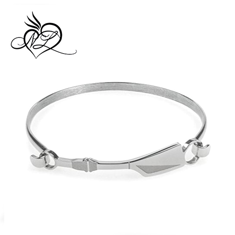 Crew Bangle Bracelet | Stainless Steel | Hypo-Allergenic | Rowing Oar