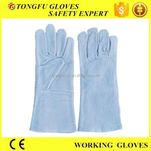 Mens long gray leather work gloves / buffalo leather working gloves for construction workers