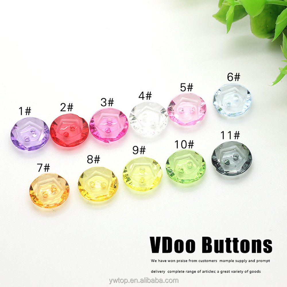 hot sale new fashion acrylic crystal candy color transparent upholstery buttons for children clothing 13mm