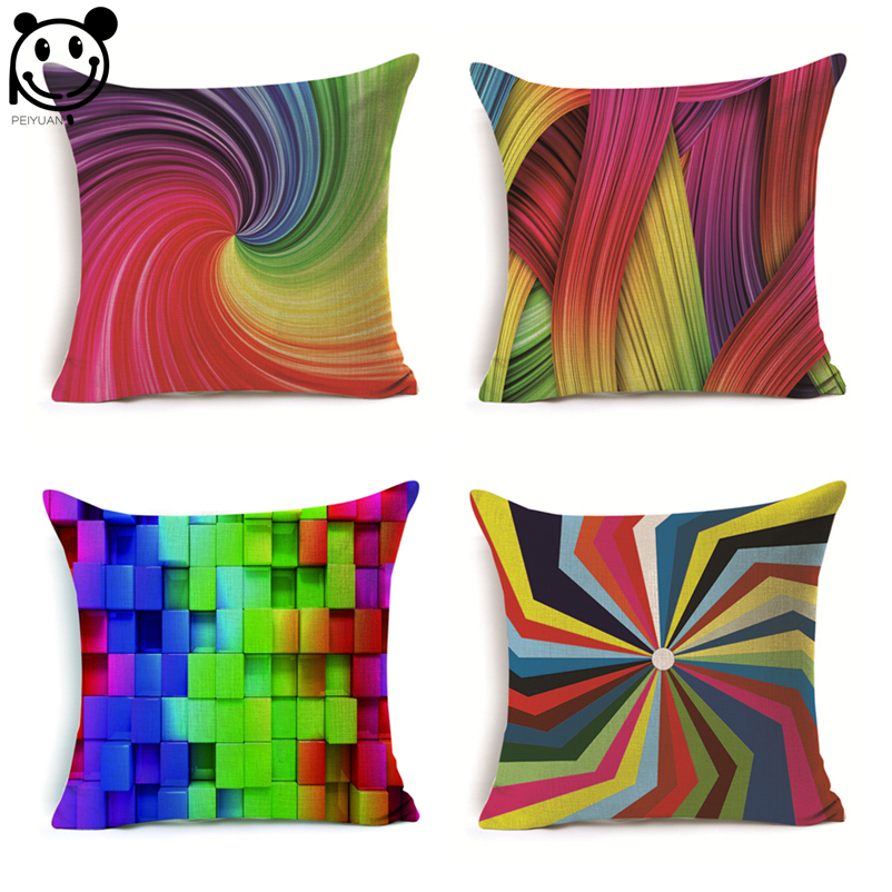 PEIYUAN Factory Custom Pillow Case Polyester Printed Colorful Rainbow Vortex Shaped Square Cushion Cover