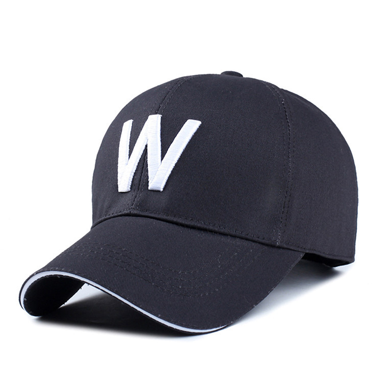 Wholesale men and women outdoor casual cotton baseball cap with embroidery letter <strong>W</strong>