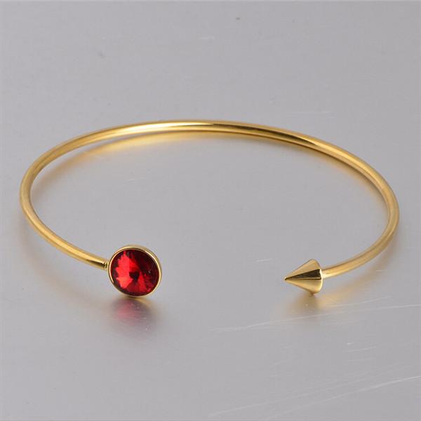 Yiwu Aceon Wholesale Stainless Steel Circle Birthstone Cuff Bracelet Fashion Jewelry Bangle costume jewelry ethnic