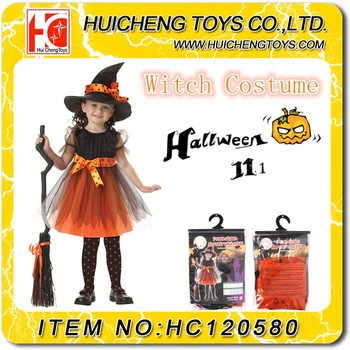 Halloween child masquerade party cosplay dress witch costume for girl