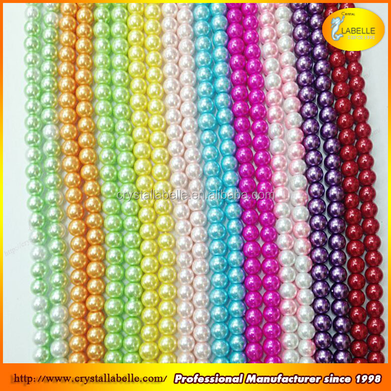 6mm 8mm shinny colorful round glass pearls loose faux pearl beads