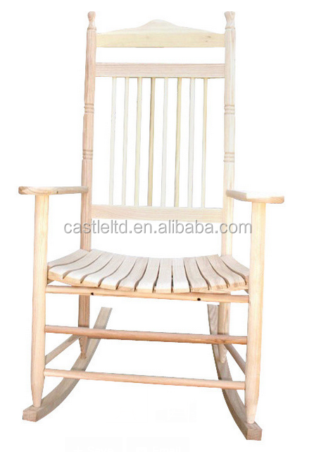 Unfinished wood chair frame in classical style,using outdoor and indoor standard adultslat porch rocking chair