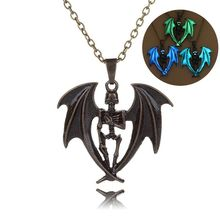 New Design Metal Dragon Shape Glow in the Dark Evil Wings Pendant Necklace for Wholesale