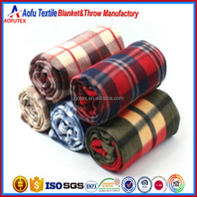Shaoxing textile cheap wholesale printed plaid polar fleece blanket