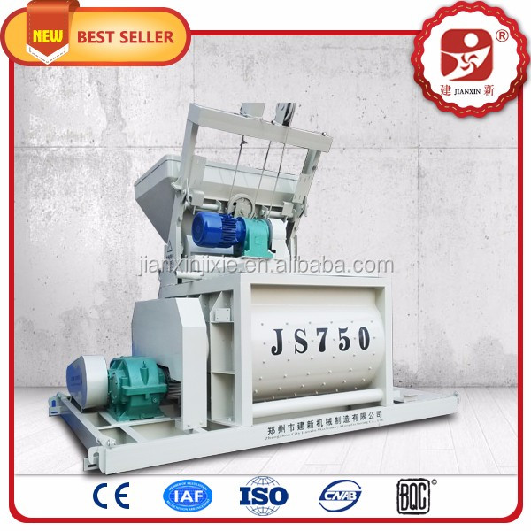 JS series forced concrete mixer 750 liter concrete mixing machine with twin shaft blades