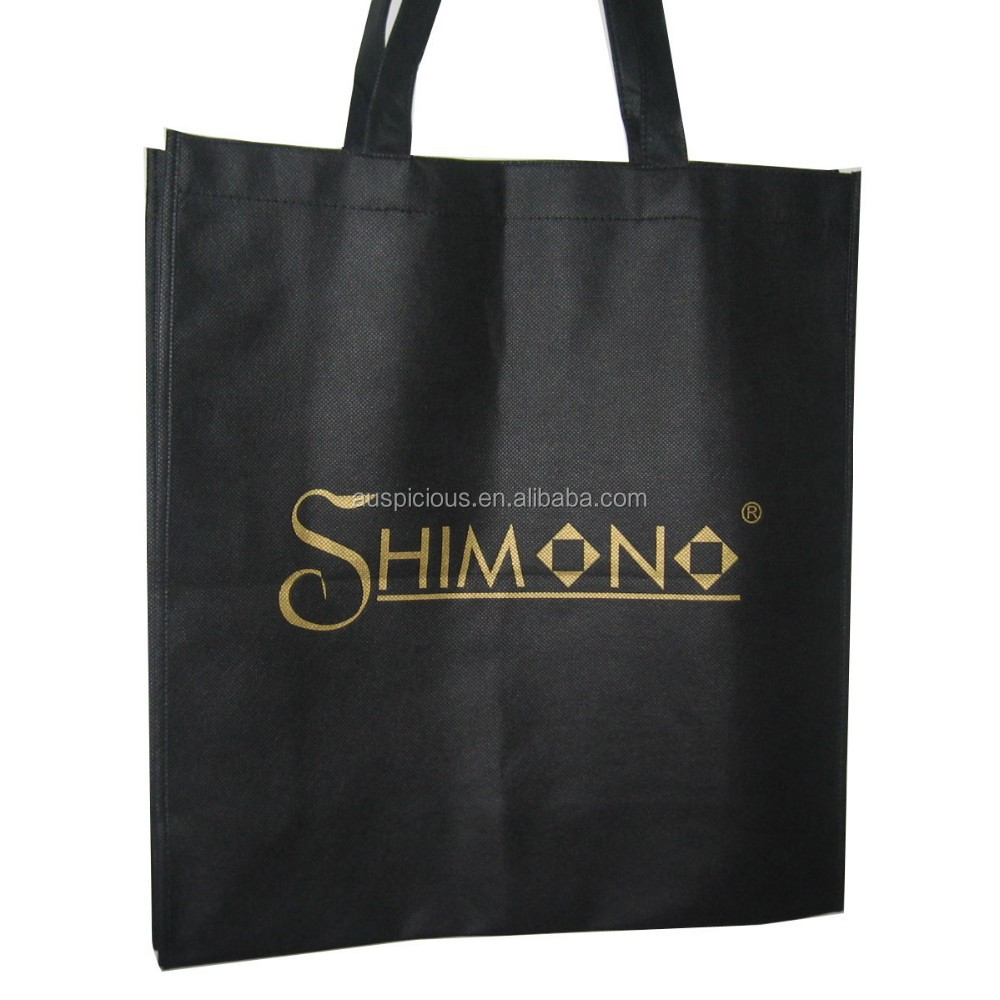Price good gold stamping logo non woven grocery shopping bag
