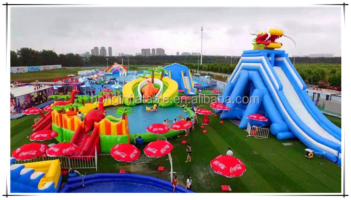 Outdoor Portable Adult Water Park Equipment Giant Dragon Inflatable Slide Inflatable Water Park For Sale