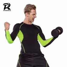 Oefening bodybuilding fitness compressie ademend wicking sneldrogende lange mouwen sport Training Shirts