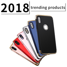 Ultra slim 3 in 1 matte hard pc electroplating bumper cell phone case cover for iphone x 10 8 8 plus case