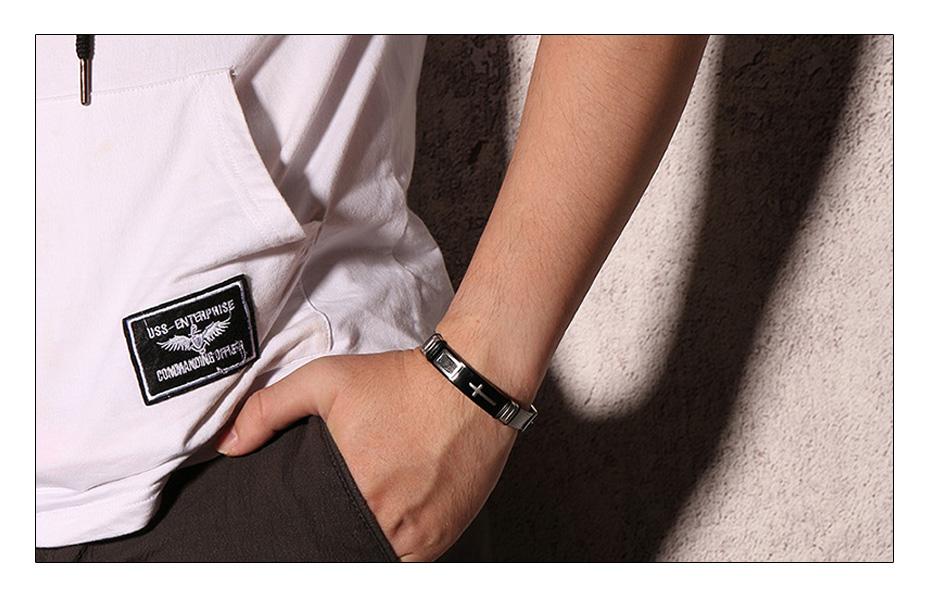 Meaeguet Stainless Steel Cross Charm Bracelet & Bangle Men Adjustable Watch Bands Wristband Bracelet Christian Jewelry (6)