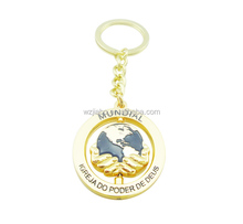 factory direct sell metal 3D gold plate rotate keychain