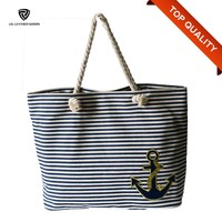 Women Customized Cotton Rope Handle Canvas Beach Tote Bag