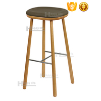 2016 new bar furniture round antique wooden bar stool