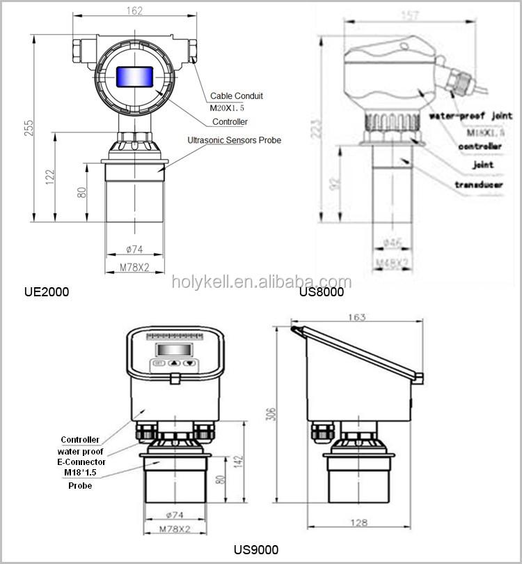 rs485 ultrasonic level range sensor ultrasonic remote display sensor us9000