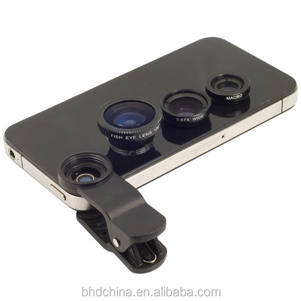 3 In 1 universal clip camera mobile phone len fish eye macro wide angle for iphone 5s 4s 6s plus for samsung s5 4 fisheye