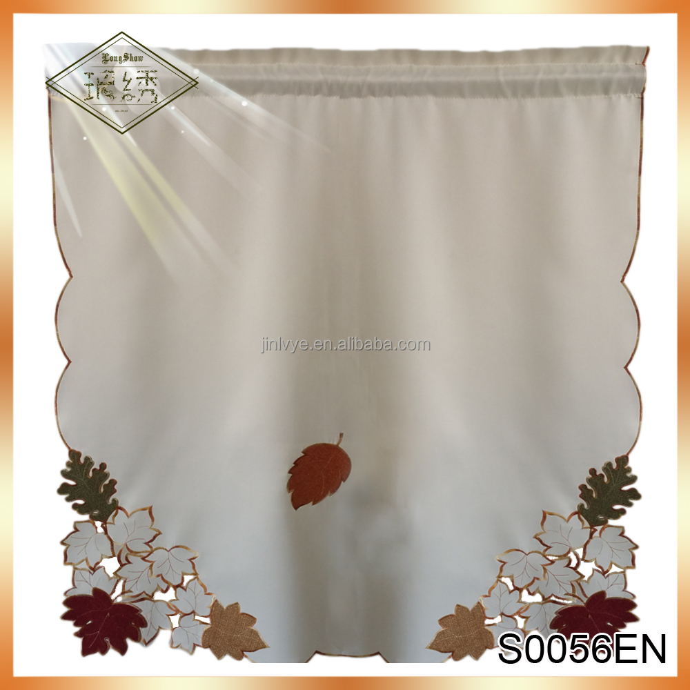Wholesale Home Decoration Embroidery Satin Ready Made Kitchen Curtain