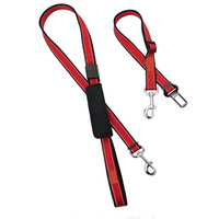 Reflective Strips Two Adjustable Pet Seat Belt Leashes For Dogs and Cats With Pocket for Waste Bags