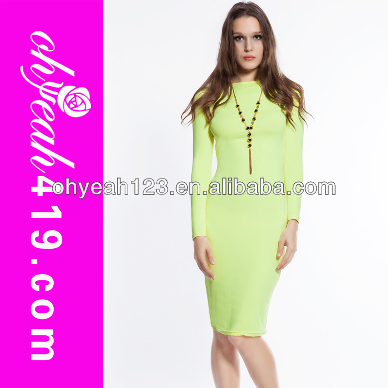 Long sleeves light green woman dress fashion 2014