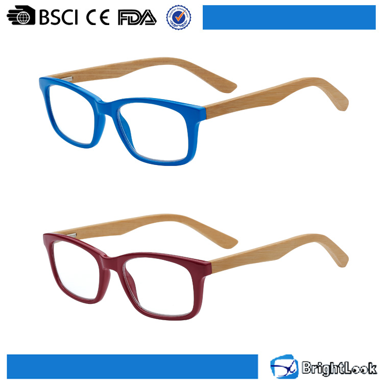China eyewear manufacturer,PC frame clear lens bamboo wood temple eyewear reading glasses