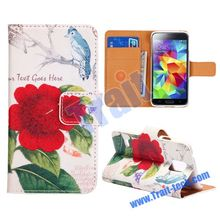 New Arrival Flower Bird Flip Leather Stand Wallet Case for Samsung Galaxy S5 Mini