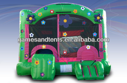 2014 green inflatable castle,inflatable bouncy with slide A3097