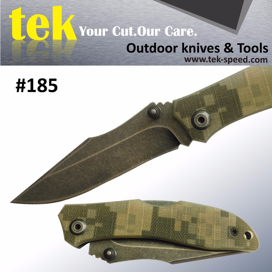 SOLD OUT Survival tool camouflage handle stonewash blade folding pocket knife