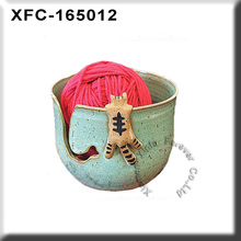 ceramic yarn bowl with cute tabby cat in turquoise