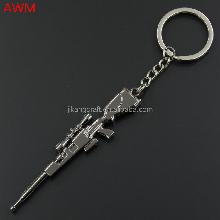 Fashion CF games metal gun shaped keychain wholesale