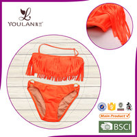 Manufacture Elegant Padded Flower Young Girls Swimwear Bikini Suit