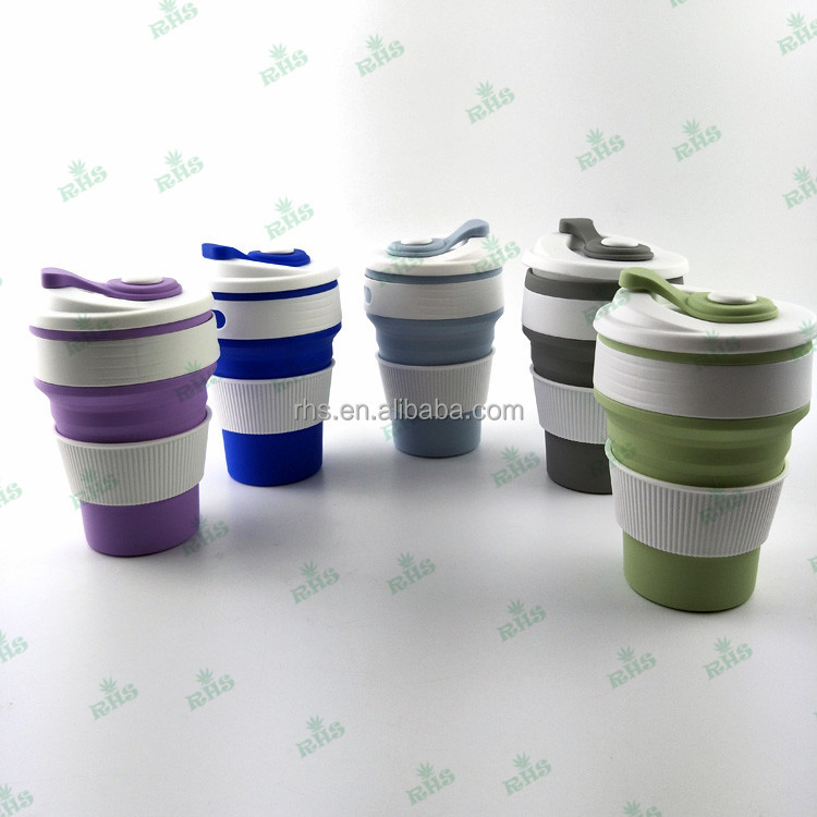 New Arrival Durable Silicone Drinking Cup Portable 350ml Folding/Collapsible Travel Cup 5 colors